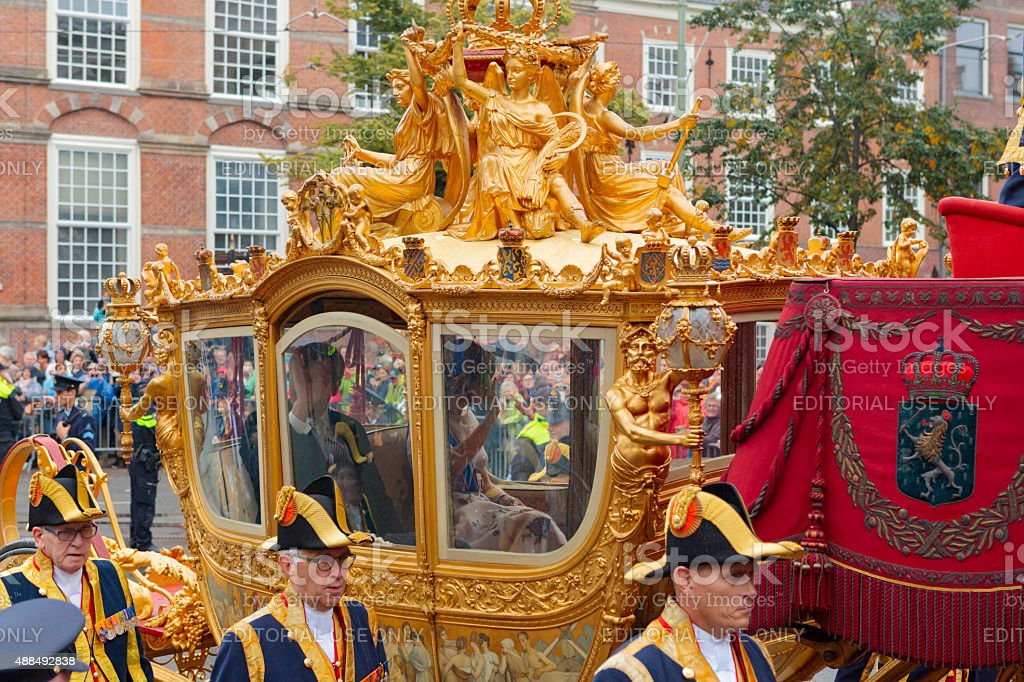 King Willem-Alexander and Queen Máxima in the Golden Carriage stock photo