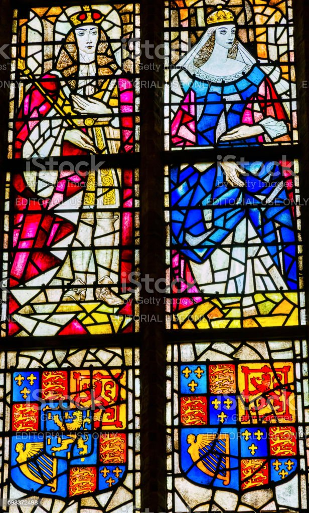 King Willian Orange Queen Mary Stained Glass New Cathedral Kerk Delft Netherlands stock photo