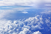 Aerial view of dramatic cloudy skies over the ocean