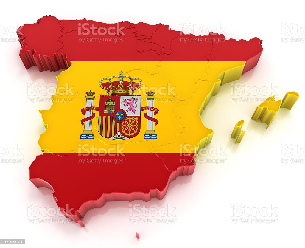 Kingdom of Spain - map with flag royalty-free stock photo