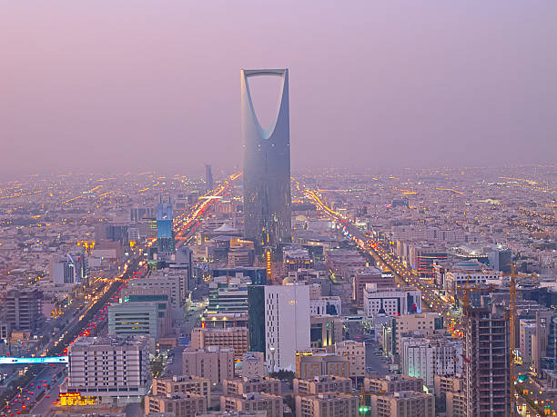 Kingdom tower Riyadh, Saudi Arabia. the Kingdom tower is visible in the cityscape.  saudi arabia stock pictures, royalty-free photos & images