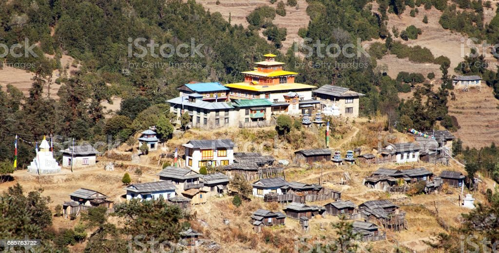 Kinggurding Gomba or Gompa, Everest area, Solukumbu stock photo
