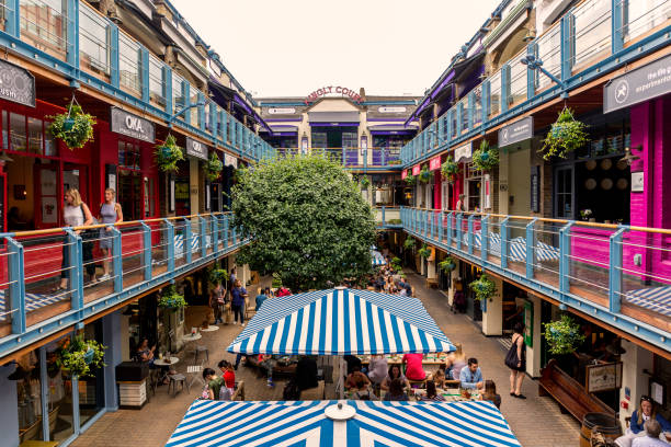 Kingly Court in Carnaby, London London, UK - June 02, 2017: People dining at Kingly Court in Carnaby, London carnaby street stock pictures, royalty-free photos & images