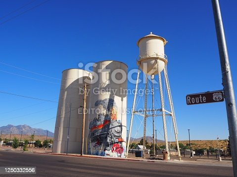 While driving, tourists could admire Kingman water Tower on Route 66 in Arizona in July 2019