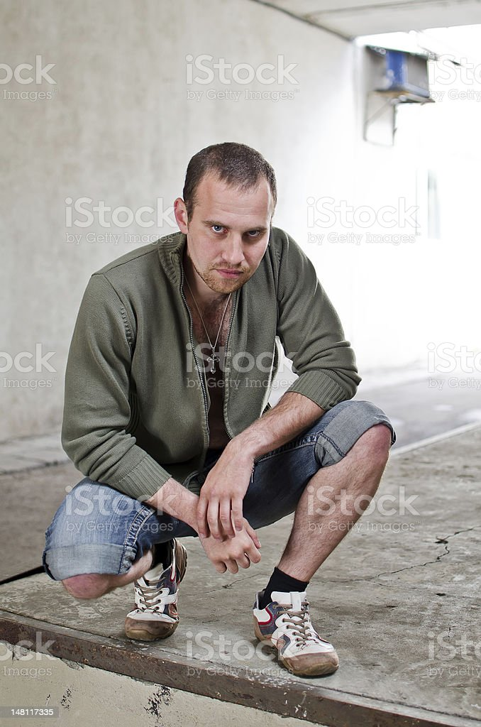 Kingpin. Portrait of man with cross. stock photo