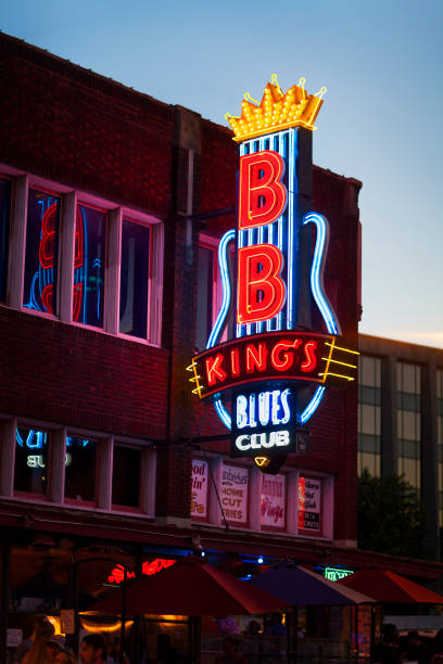b.b. king's blues club on beale street, memphis, tn - food logo stock photos and pictures