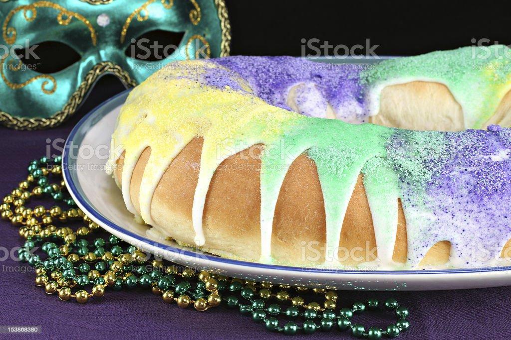 Kings Cake for Mardi Gras royalty-free stock photo