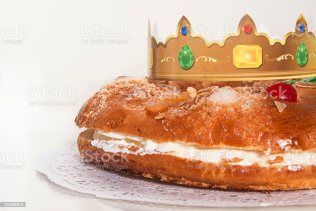 Kings cake, Roscon de Reyes, spanish traditional sweet stock photo
