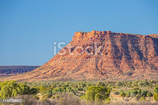 The incredible rock geology of Kings Canyon from Kings Canyon Resort at sunset in the Northern Territory, Australia