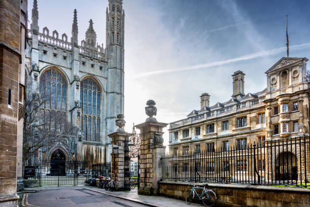 kings chapel in cambridge - cambridge university stock photos and pictures