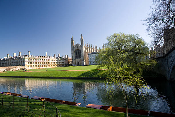 kings college, cambridge, from the backs - cambridge university stock photos and pictures