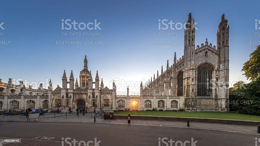 King's College Chapel Panorama with Sun Star stock photo