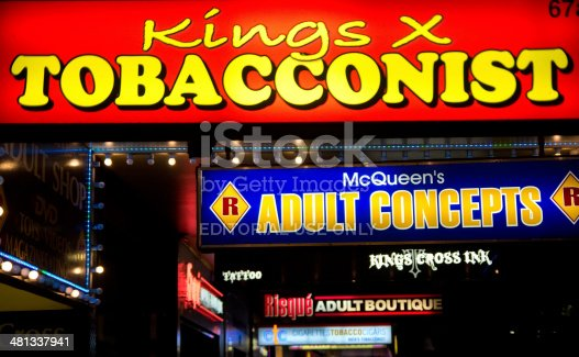 Sydney, Australia - March 19, 2014: Signs for a tobacconist and sex shops lit up at night on Darlinghurst Road, Kings Cross. The district is a hub of nightlife activity and adult-oriented entertainment.