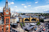 Aerial view of London skyline over Kings Cross railway station and St Pancras