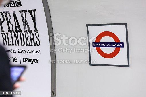 London, United Kingdom - August 20, 2019: Travelers wait at King's Cross underground station.
