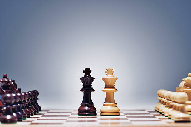 kings face to face - symmetry stock photos and pictures