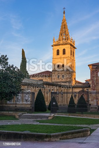 istock Kings garden and Las Pelayas monastery tower at sunset in Oviedo old town. 1299496104