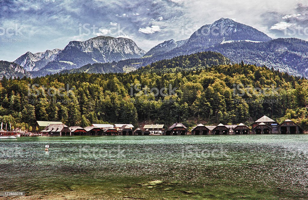 King's Lake Bavaria With Boatyard And Mountain Jenner In Background royalty-free stock photo