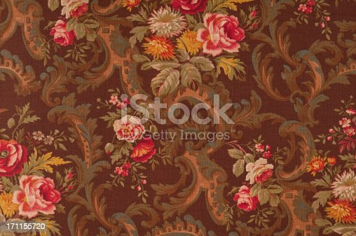 Antique floral fabric with red  and pink rose clusters.Take a look at my LIGHTBOX of other related images.