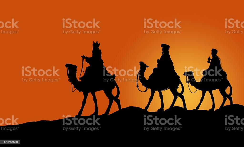 Kings on Camels XXL (PHOTOGRPAHED SILHOUETTE) royalty-free stock photo
