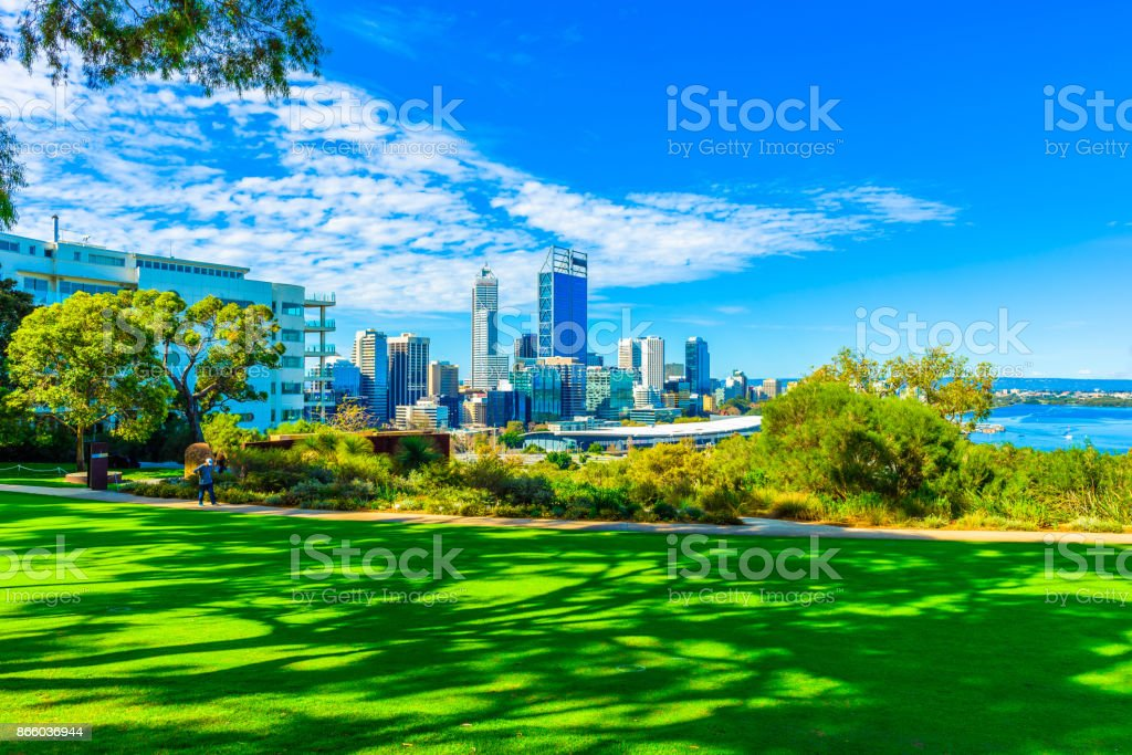 Kings Park and Perth city stock photo