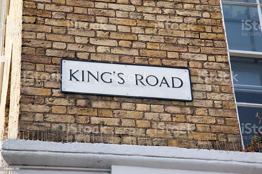 Kings Road Street Sign; Chelsea; London stock photo