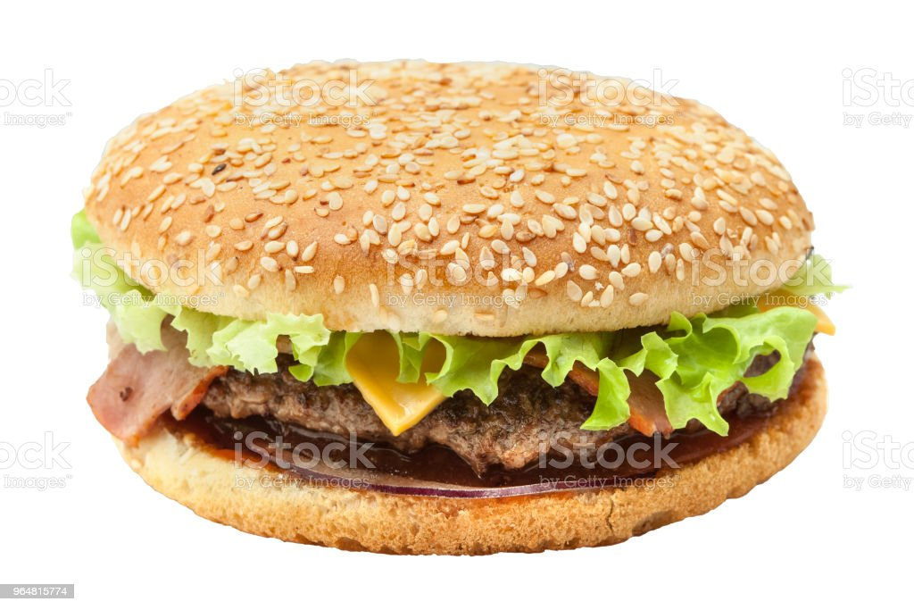 Kingsize burger with beef chops royalty-free stock photo