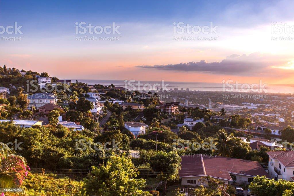 Kingston city hills in Jamaica sunset stock photo