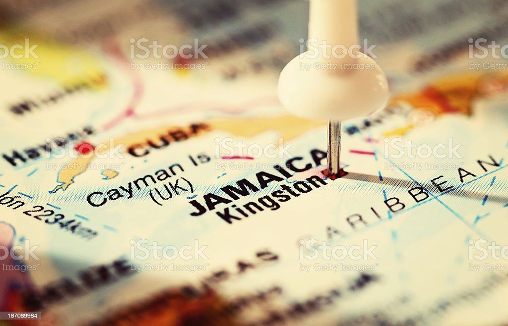 Kingston, Jamaica, marked on map of Caribbean with pushpin royalty-free stock photo