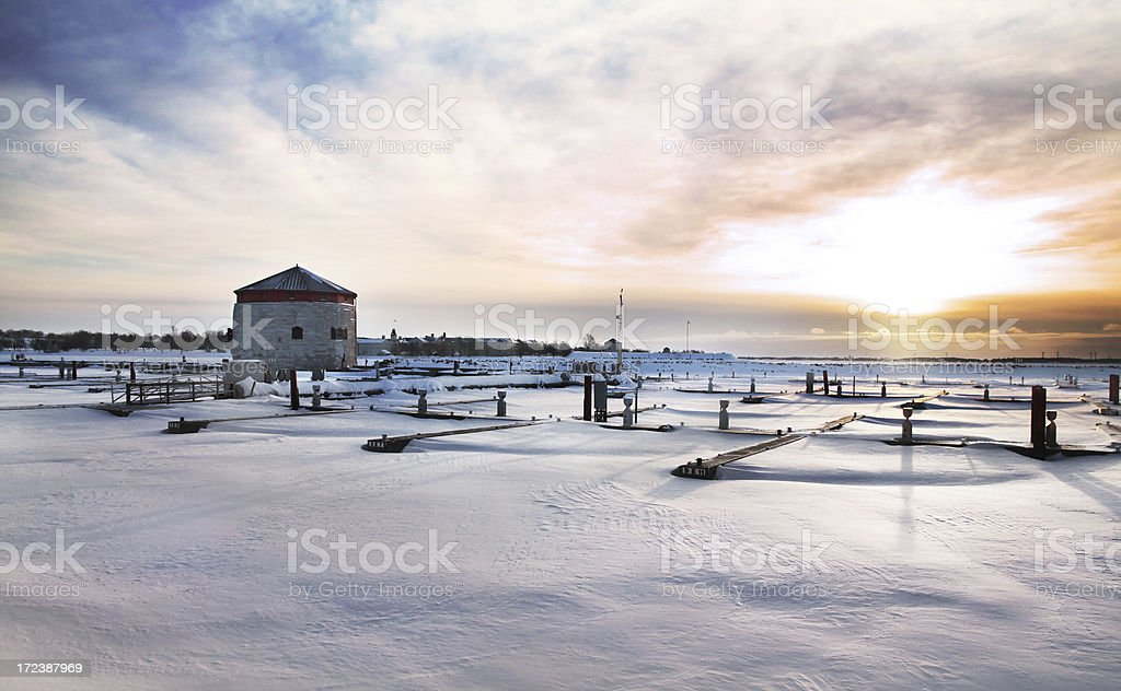 Kingston Materllo Towers and Harbour at Sunrise royalty-free stock photo