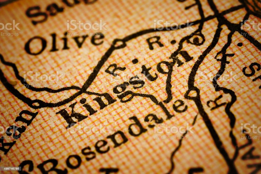 Kingston, New York on an Antique map stock photo
