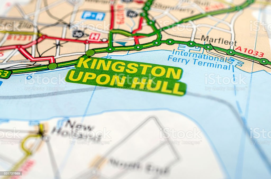 Kingston upon Hull on road map stock photo
