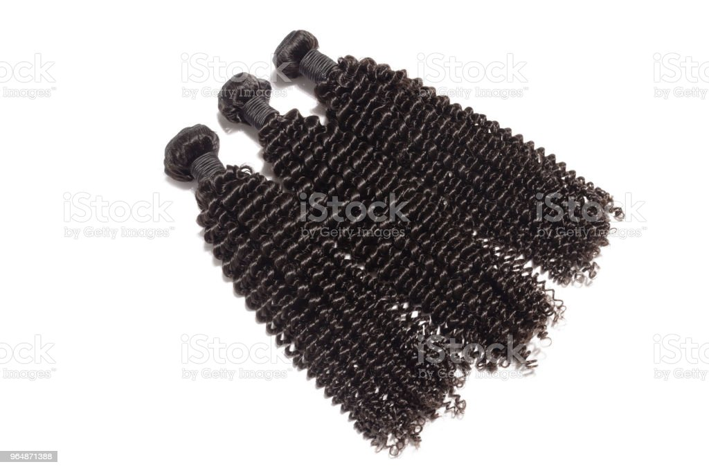 kinky curly black human hair weave extensions bundles royalty-free stock photo