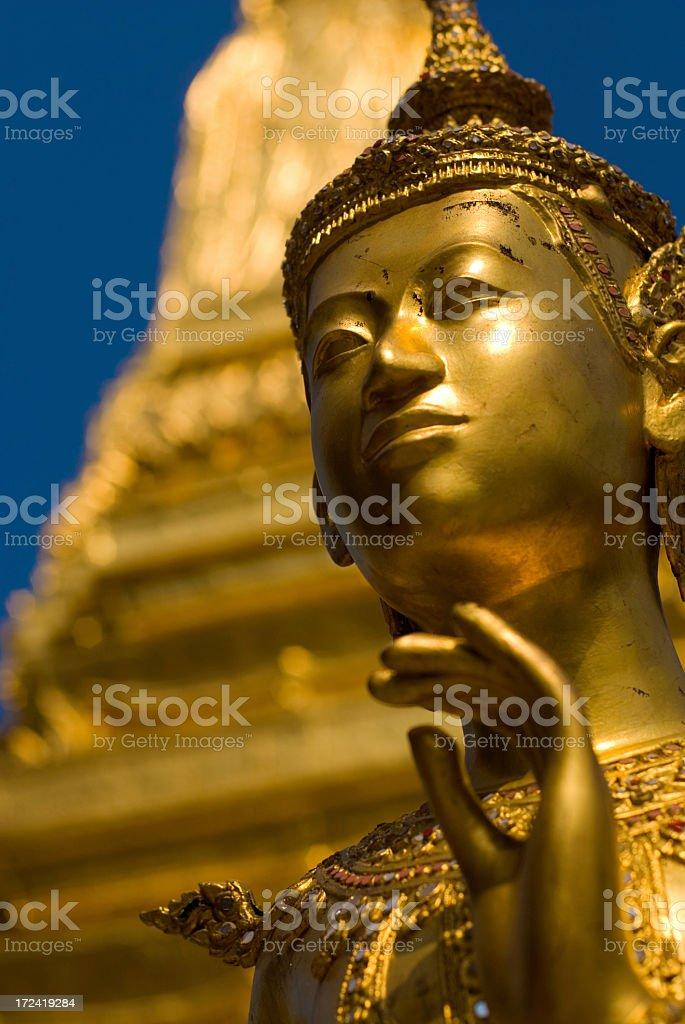 Kinora golden statue at Wat Phra Kew ancient site royalty-free stock photo