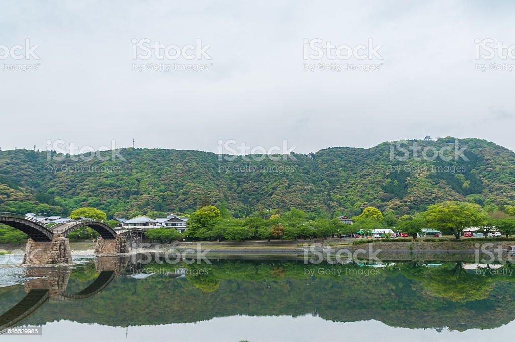 Kintaikyo bridge against cloudy sky stock photo