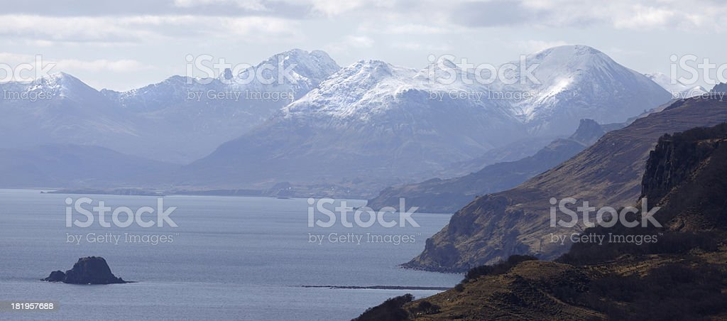Kintail Mountains and Sound of Raasay, Skye, Scotland stock photo