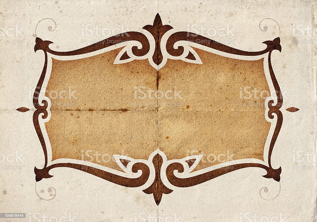 A Kinzie background with a brown frame on beige stock photo