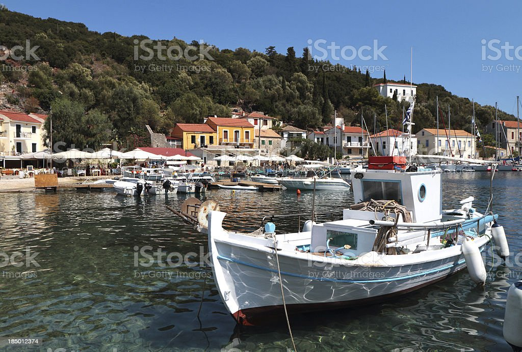 Kioni Harbour and Seafront, Ithaki, Ionian Islands, Greece stock photo