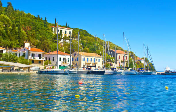 Kioni port Ithaca Greece stock photo