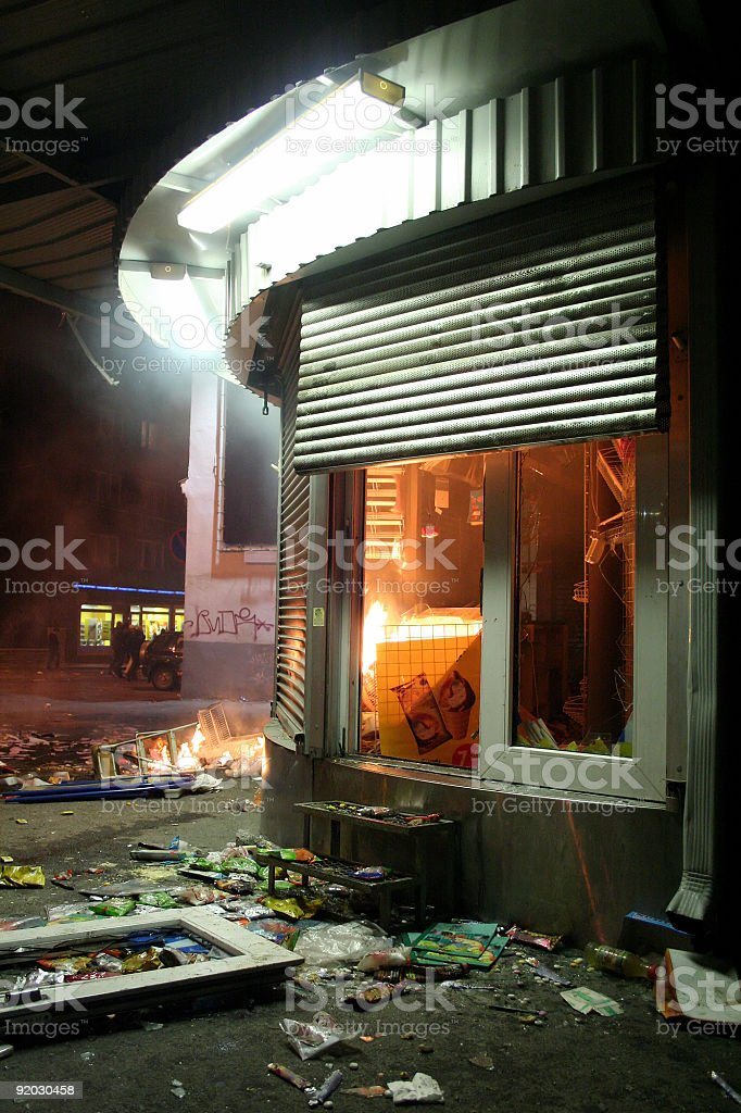 Kiosk after riots royalty-free stock photo
