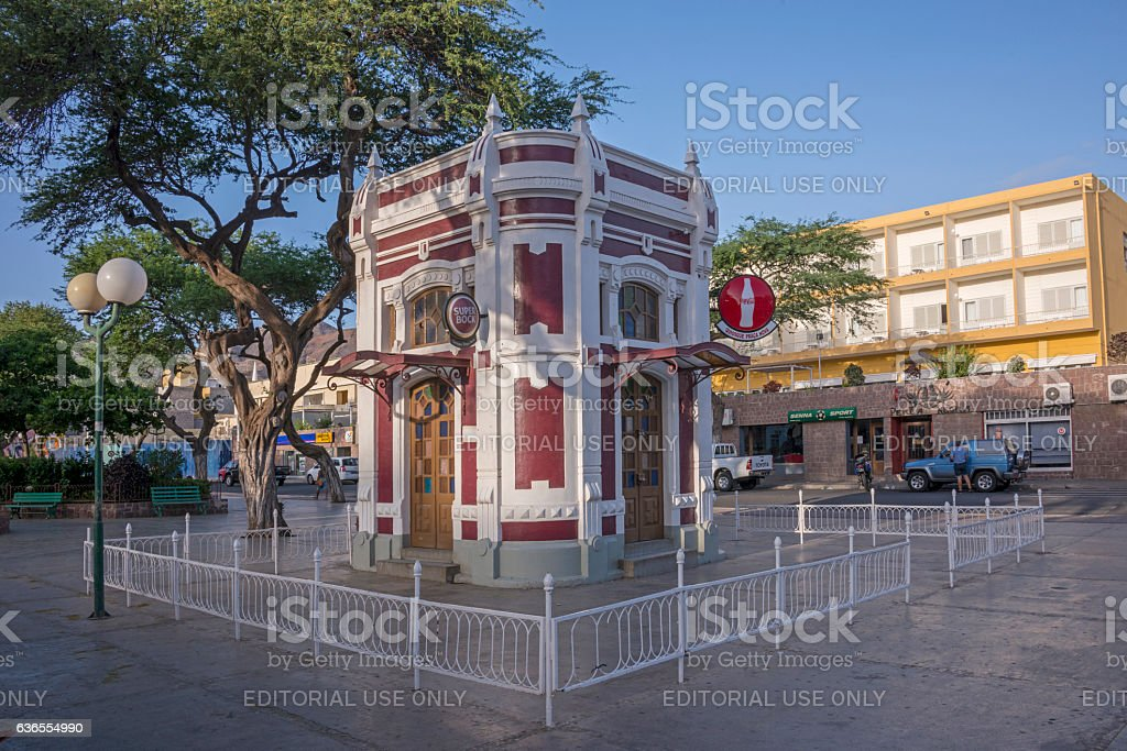 Kiosk in the Praca Nova of Mindelo stock photo