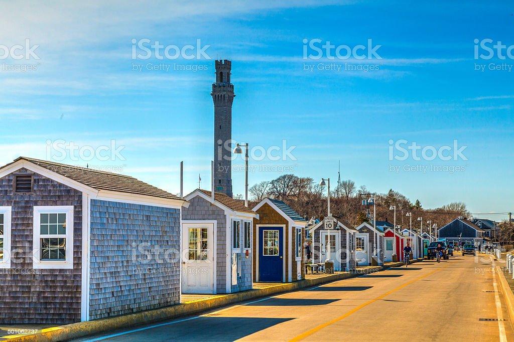 Kiosks line the pier in Provincetown, Massachusetts stock photo