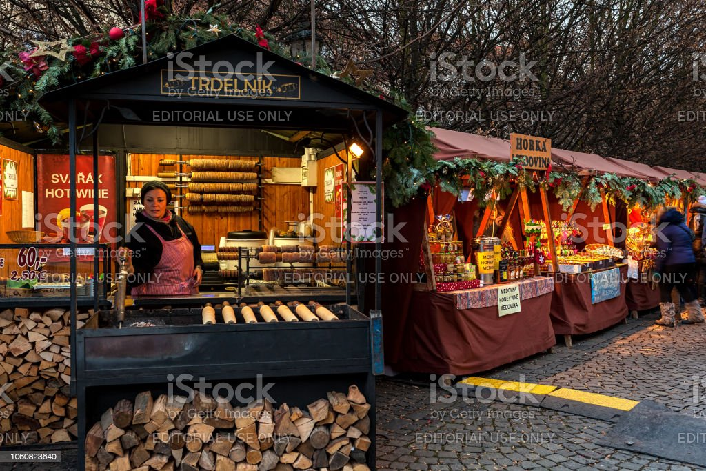Kiosks with food and souvenirs in Old Town of Prague. stock photo