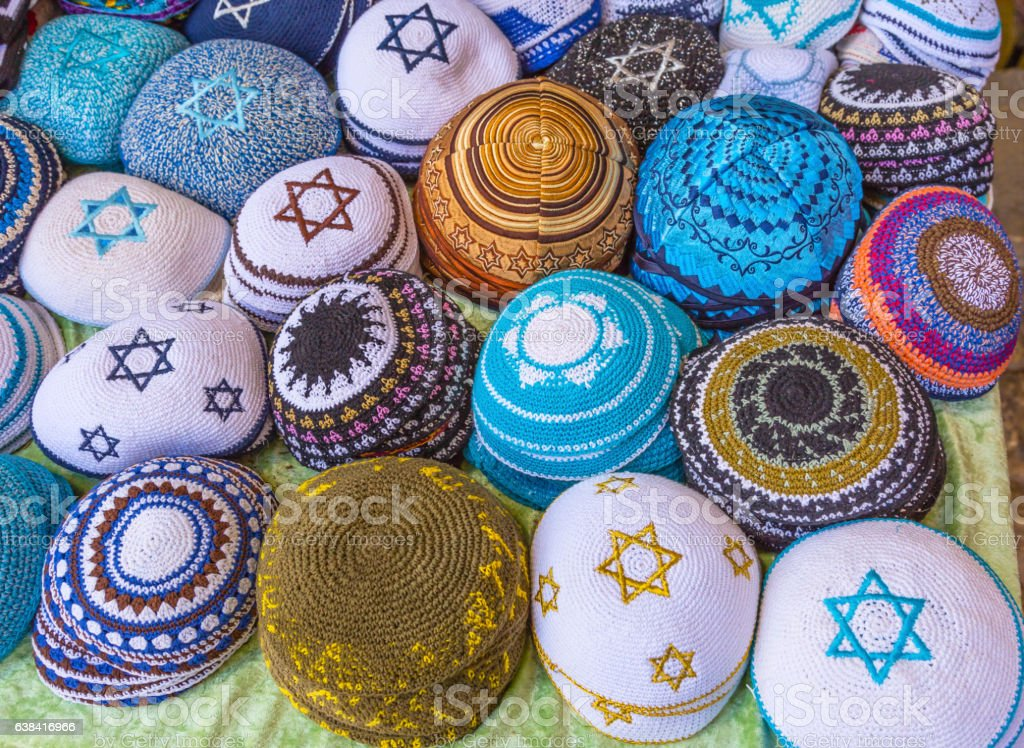Kippahs Yarmulkes Souvenirs Safed Tsefat Israel stock photo