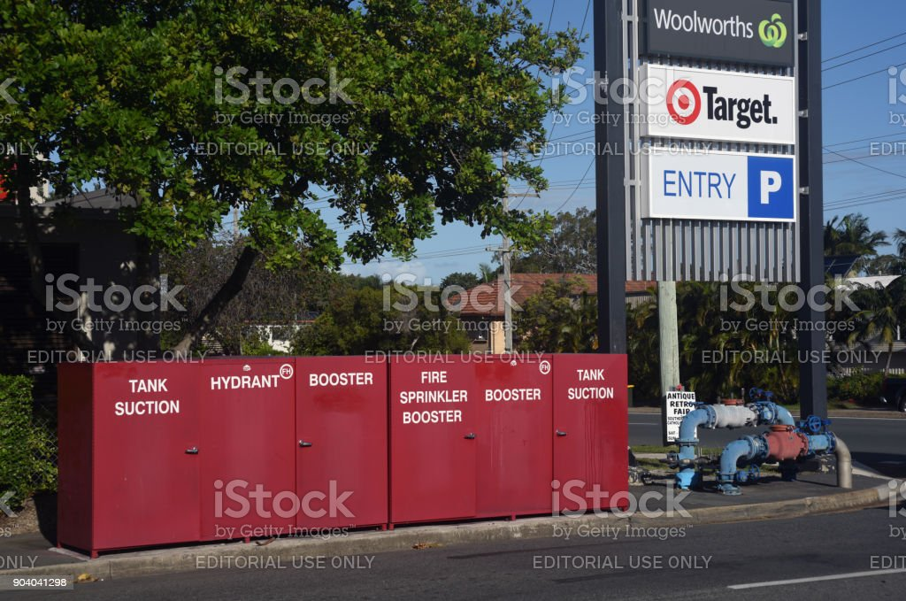 Kippa-Ring, Queensland, Australia: Sprinkler System cabinets stock photo