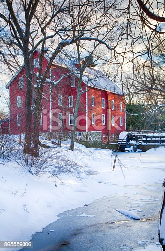 Kirby's Mill in Medford, New Jersey covered in snow and ice.