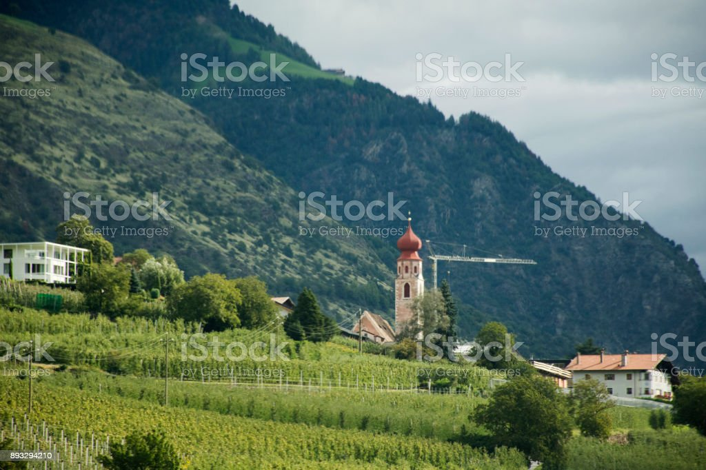 Kirche Maria-Hilf in Gries Picturesque church of St Antonius with its onion dome stock photo