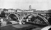 Kirchenfeldbrucke arch bridge in Bern, Switzerland. Vintage halftone photo circa late 19th century.