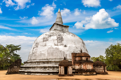 Kiri Vehera white stupa in Polonnaruwa Archaeological Museum, Sri Lanka