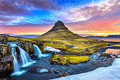 Kirkjufell at sunrise in Iceland. Beautiful landscape.